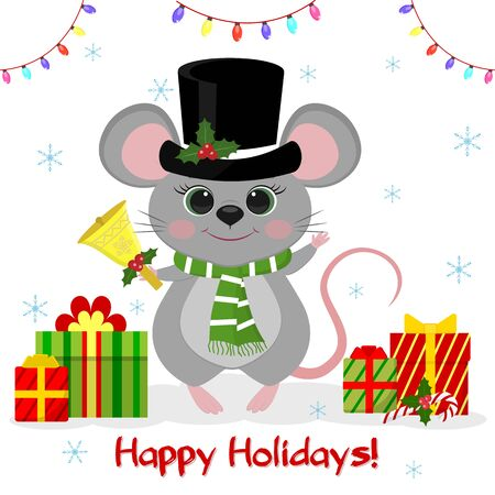 Happy New Year and Merry Christmas. A cute mouse, a rat in a black hat and a snowman scarf holds a bell. Year of the Rat 2020. Cartoon, flat style, vector.