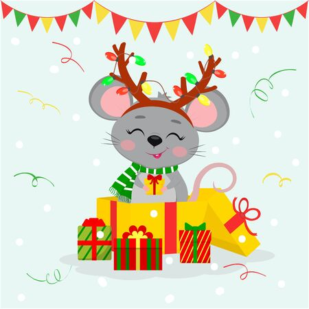 Happy New Year and Merry Christmas. A cute mouse, a rat in a rim of antlers with garlands and a scarf, stand in a gift box and holds a box with a gift. Year of the rat. Cartoon, flat style, vector