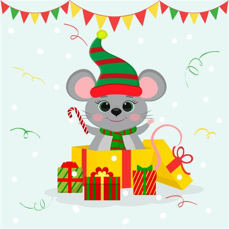 Happy New Year and Merry Christmas. A cute mouse, a rat in a hat and an elf scarf, stands in a gift box and holds a candy lollipop. Year of the rat. Cartoon, flat style, vector Illustration