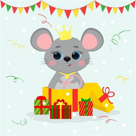 Happy New Year and Merry Christmas. A cute mouse, a rat princess with a crown and a medallion, stands in a big gift box. Year of the Rat 2020. Cartoon, flat style, vector