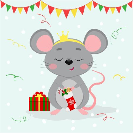 Happy New Year and Merry Christmas. Cute mouse, a rat with a crown on his head holds a Santa sock with sweets and gingerbread cookies. Year of the Rat 2020. Cartoon, flat style, vector