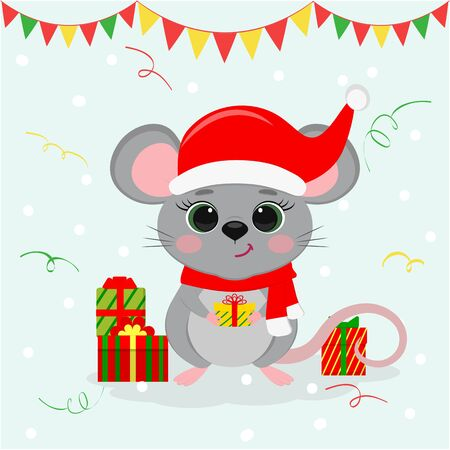 Happy New Year and Merry Christmas. Cute mouse, a rat with green eyes in a New Year s hat and scarf, holds a box with a gift. Year of the Rat 2020. Cartoon, flat style, vector