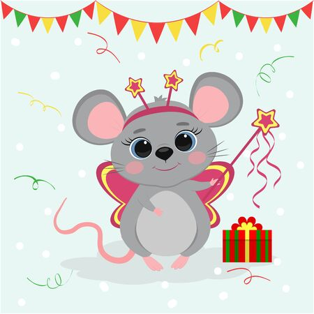Happy New Year and Merry Christmas. Cute mouse, a rat with a butterfly fairy costume, holds a magic wand. Year of the Rat 2020. Cartoon, flat style, vector