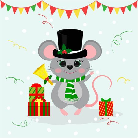 Happy New Year and Merry Christmas. A cute mouse, a rat in a black hat and a snowman scarf holds a bell. Year of the Rat 2020. Cartoon, flat style, vector