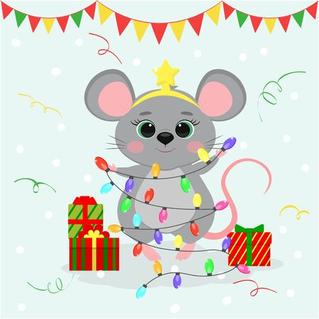 Happy New Year and Merry Christmas. Cute mouse, a rat in a star rim holds a garland for the Christmas tree. Year of the Rat 2020. Cartoon, flat style, vector Zdjęcie Seryjne - 136970483
