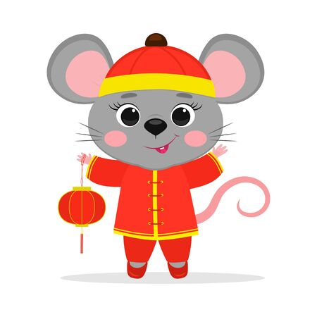 Chinese zodiac rats of 2020. A cute mouse or rat in a Chinese traditional red costume holds a red Chinese lantern isolated on a white background. Cartoon style, vector.