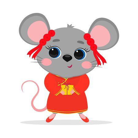 Chinese zodiac rats of 2020. Cute mouse or rat in a Chinese traditional red costume holds a box with a gift, isolated on white background. Cartoon style, vector. Ilustracja
