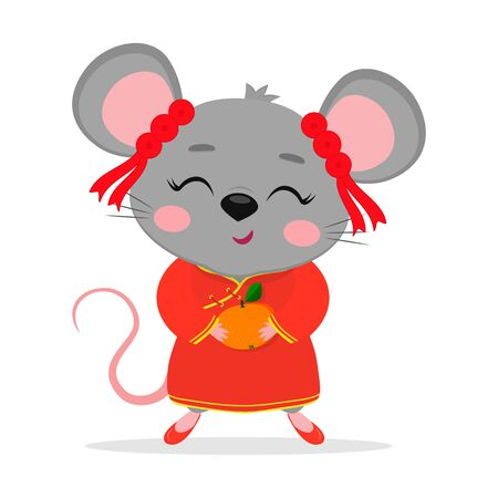 Chinese zodiac rats of 2020. A cute mouse or rat in a Chinese traditional red costume is holding a ripe mandarin isolated on a white background. Cartoon style, vector.