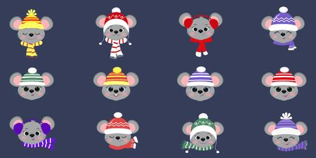 Set collection of twelve cute mouse rats in winter hat and scarf of different designs on a blue background. Year of the rat. Cartoon, flat style, vector. Ilustracja