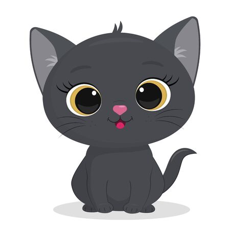 Cute gray kitten isolated on a white background. Funny pet, charming sitting kitty of British breed, cute furry friend. Cartoon style, vector.