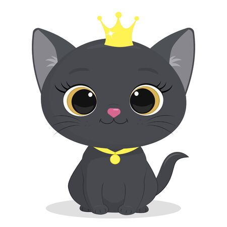 Cute gray kitten in a crown and a ribbon with a medallion isolated on a white background. Charming seated kitten princess of British breed, cute fluffy friend. Cartoon style, vector. Banco de Imagens - 139834542
