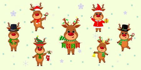 Christmas and New Year 2020. A set of seven cute reindeers in different costumes with holiday accessories on a background of snowflakes. Cartoon, flat style, Vector.