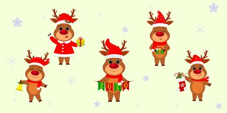 Christmas and New Year 2020. A set of five cute reindeers in different costumes with holiday accessories on a background of snowflakes. Cartoon, flat style, Vector. Ilustracja
