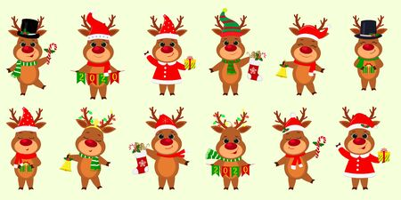 Christmas and New Year 2020. A set of twelve cute reindeers in different costumes with holiday accessories on a background of snowflakes. Cartoon, flat style, Vector. Ilustracja
