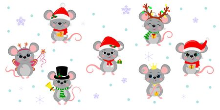 Christmas and New Year 2020. Set of seven cute mouse rats in different costumes with holiday accessories on a background of snowflakes. Cartoon, flat style, vector.