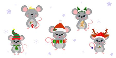 Christmas and New Year 2020. A set of five cute mouse rats in different costumes with holiday accessories on a background of snowflakes. Cartoon, flat style, Vector. Zdjęcie Seryjne - 138382236