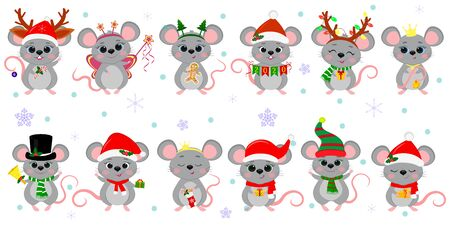 Christmas and New Year 2020. A set of twelve cute mouse rats in different costumes with holiday accessories on a background of snowflakes. Cartoon, flat style, Vector.