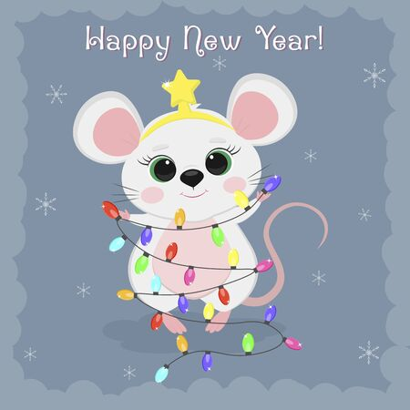 Year of the steel rat 2020. Merry Christmas and Happy New Year. Cute mouse, a rat in a star rim holds a garland for the Christmas tree on a blue background of snowflakes. Cartoon, flat style, vector.