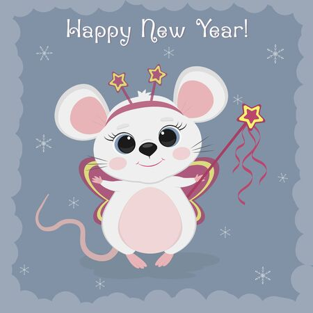 Year of the steel rat 2020. Merry Christmas and Happy New Year. Cute mouse, rat in a fairy costume on a blue background of snowflakes. Cartoon, flat style, vector.