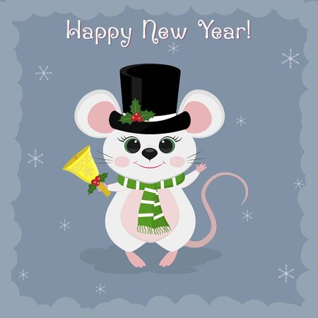 Year of the steel rat 2020. Merry Christmas and Happy New Year. Cute mouse, rat in a black snowman hat on a blue background of snowflakes. Cartoon, flat style, vector.