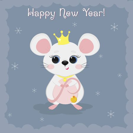 Year of the steel rat 2020. Merry Christmas and Happy New Year. Cute mouse, rat princess in a crown with a medallion on a blue background of snowflakes. Cartoon, flat style, vector.