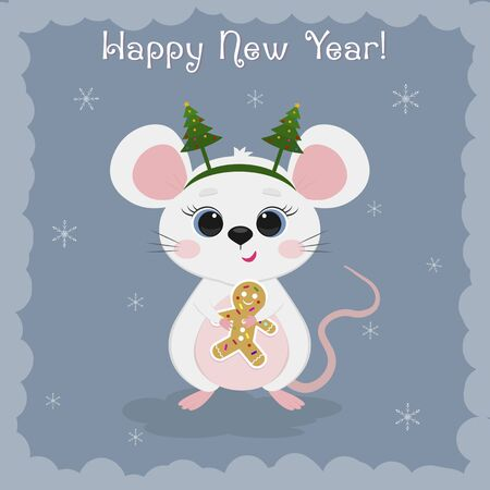 Year of the steel rat 2020. Merry Christmas and Happy New Year. Cute mouse, rat in a rim with Christmas trees holds gingerbread cookie. on a blue background of snowflakes. Cartoon, flat style vector.