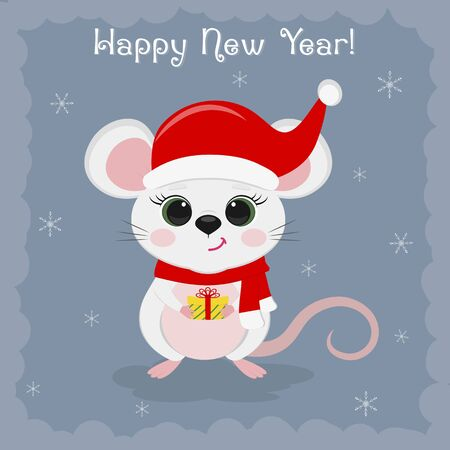 Year of the steel rat 2020. Merry Christmas and a happy new year. Cute mouse, a rat in a Santa hat is holding a gift on a blue background of snowflakes. Cartoon, flat style, vector.