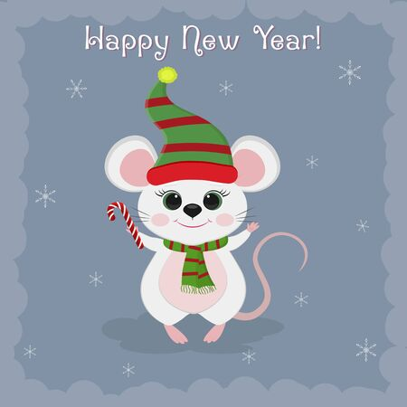 Year of the steel rat 2020. Merry Christmas and a happy new year. Cute mouse, rat in a hat and an elf scarf holds a lollipop on a blue background of snowflakes. Cartoon, flat style, vector.