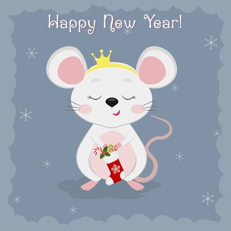 Year of the steel rat 2020. Merry Christmas and a happy new year. Cute mouse, the rat crown holds a sock of sweets on a blue background of snowflakes. Cartoon, flat style, vector Ilustracja