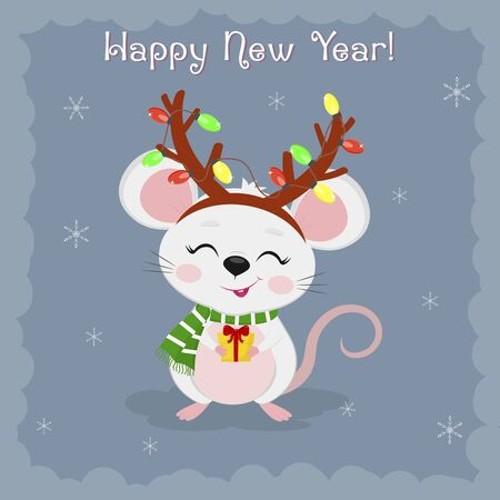 Year of the steel rat 2020. Merry Christmas and a happy new year. Cute mouse, rat deer antler garland holds a gift on a blue background of snowflakes. Cartoon, flat style, vector.