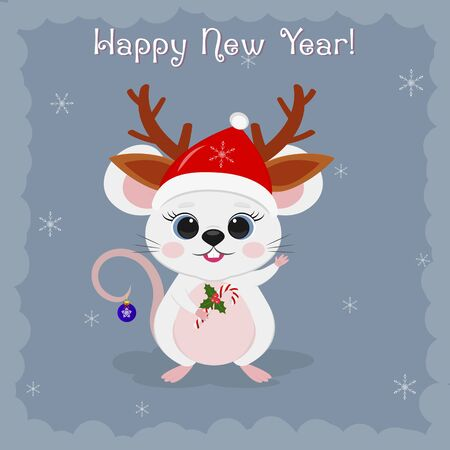 Year of the steel rat 2020. Merry Christmas and a happy new year. Cute mouse, rat Santa hat deer horns holding a lollipop on a blue background of snowflakes. Cartoon, flat style, vector.