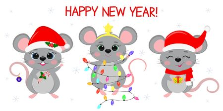Merry Christmas and happy new year 2020. Three cute mouse rats in different New Year s costumes and with different holiday items. Cartoon, flat style, vector. Ilustracja