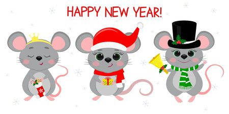 Merry Christmas and happy new year 2020. Three cute mouse rats in different New Year s costumes and with different holiday items. Cartoon, flat style, vector. Zdjęcie Seryjne - 138385603