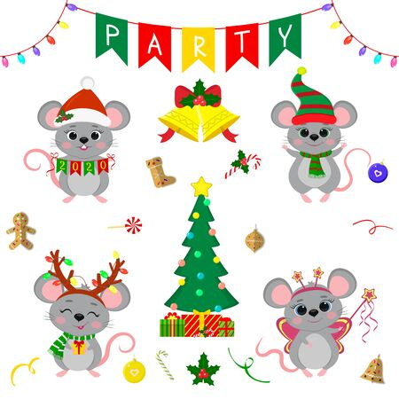 Christmas and New Year s party 2020. Set of four cute mouse rats in different costumes. Christmas trees, gifts, bells, sweets and other decor items. Cartoon style, Vector.