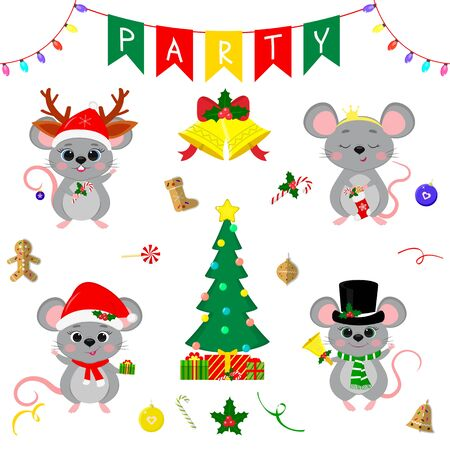 Christmas and New Year s party 2020. Set of four cute mouse rats in different costumes. Christmas trees, gifts, bells, sweets and other decor items. Cartoon style, Vector. Zdjęcie Seryjne - 138385620