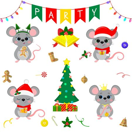 Christmas and New Year s party 2020. Set of four cute mouse rats in different costumes. Christmas trees, gifts, bells, sweets and other decor items. Cartoon style, Vector. Zdjęcie Seryjne - 138385608