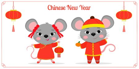 Greeting card with 2020 Chinese New Year. Two cute mouse or rat in Chinese traditional red costumes are holding a flashlight and mandarin. Frame with red lanterns. Cartoon style, vector.