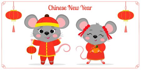Greeting card with 2020 Chinese New Year. Two cute mouse or rat in Chinese traditional red costumes are holding a flashlight and mandarin. Frame with red lanterns. Cartoon style, vector. Banco de Imagens - 140261311