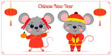 Greeting card from 2020 Chinese New Year. Two cute mice or rats in Chinese traditional red costumes are holding a mandarin and a gift. Frame with red lights. Cartoon style, vector.
