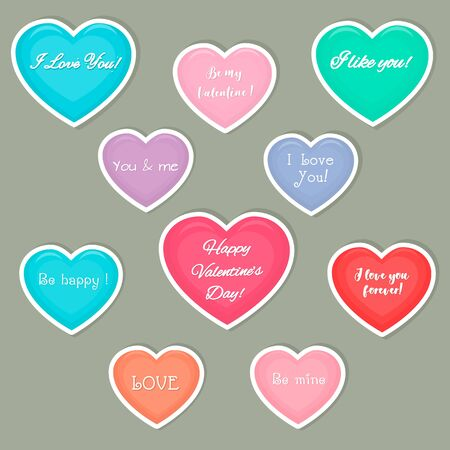 Vercto set of ten hearts multicolored stickers in a white stroke with a text about love. Valentine s Day or wedding for your design. Flat style.