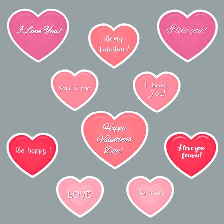 Vector set of ten pink hearts stickers in white stroke stickers with text about love. Valentine s day or wedding for your design. Flat style. Ilustracja