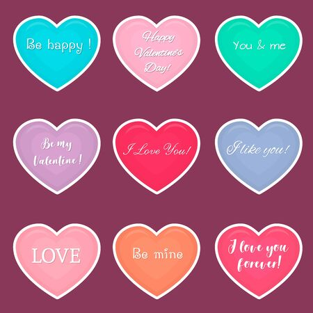 Vector set of nine hearts multicolored stickers in white stroke with text about love isolated on a dark background. Valentine s day or wedding for your design. Flat style. Ilustracja