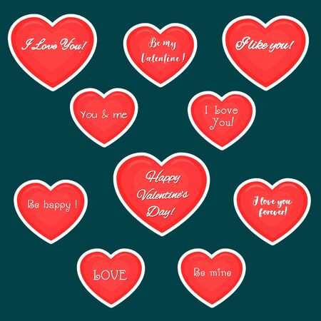 Vector set of ten red hearts stickers in white stroke with text about love, isolated on dark background. Valentine s day or wedding for your design. Flat style.