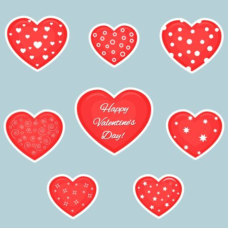 Vector set of eight red hearts stickers in white stroke with text about love and patterns isolated on a dark background. Valentine s day or wedding for your design. Flat style.