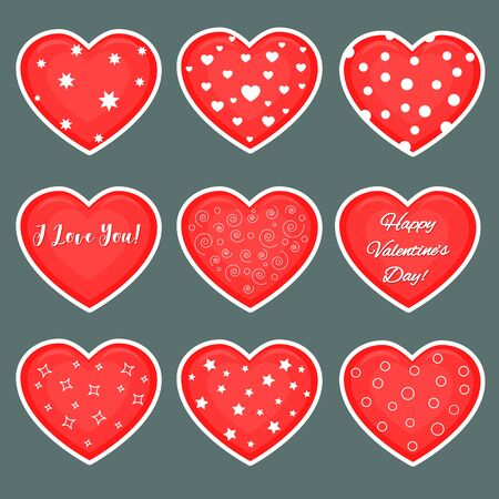 Vector set of nine red hearts stickers in white stroke with text about love and patterns isolated on a dark background. Valentine s day or wedding for your design. Flat style.