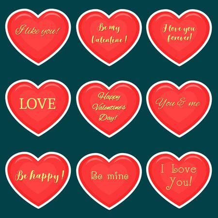 Vector set of nine red hearts stickers in white stroke with gold text about love, isolated on dark background. Valentine s day or wedding for your design. Flat style.