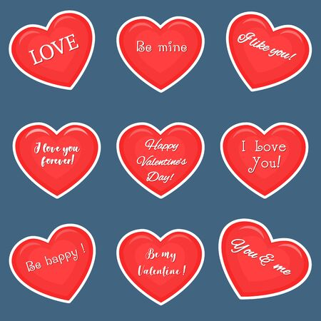 Vector set of nine red hearts stickers in white stroke with text about love, isolated on dark background. Valentine s day or wedding for your design. Flat style. Ilustracja