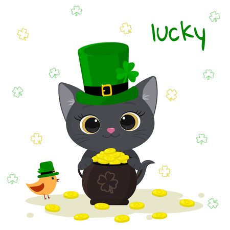 St. Patrick s Day greeting card. Cute gray kitten in a green hat of a leprechaun holds a bowler with gold coins, bird, clover. Cartoon style, flat design. Vector illustration.