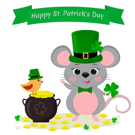 St.Patrick s Day. A cute gray mouse in a green hat stands and raised a paw, a bowler with gold coins and a bird in a green hat, clover. Cartoon style, flat design. Vector.