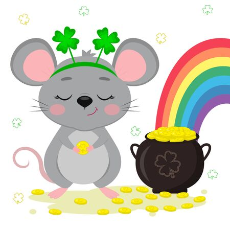 Postcard to the day of St. Patrick. A cute gray mouse in a rim of clover stands and holds a coin in its paws, a bowler with gold coins, a rainbow. Cartoon style, flat design. Vector illustration. Ilustracja